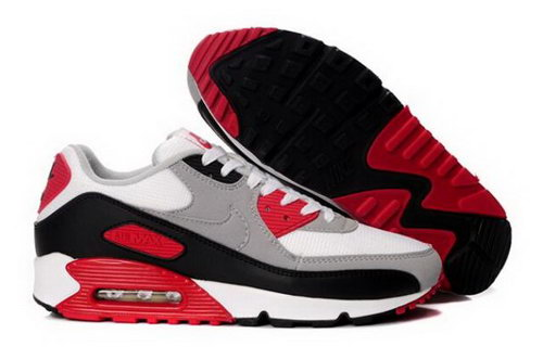 Nike Air Max 90 Mens Shoes White Grey Varsity Red Best Price